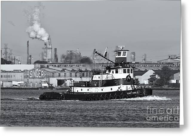 Captain America Photographs Greeting Cards - Tugboat Captain D in Newark Bay II Greeting Card by Clarence Holmes