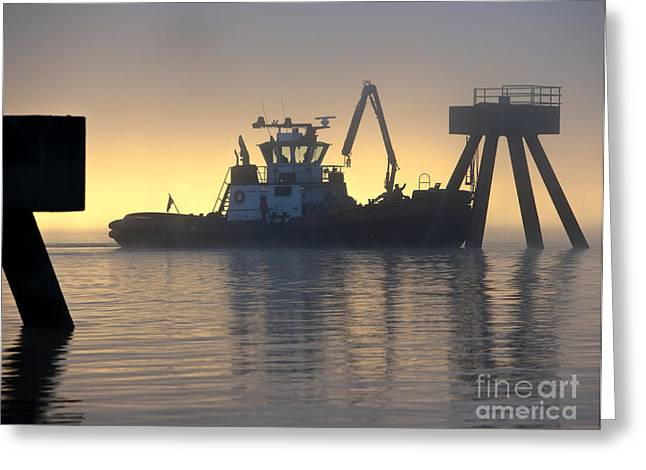 Tugboat In Port Greeting Card by David Buffington