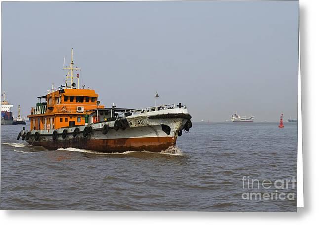 Huangpu River Greeting Cards - Tugboat on the Huangpu River Greeting Card by Sam Bloomberg-rissman