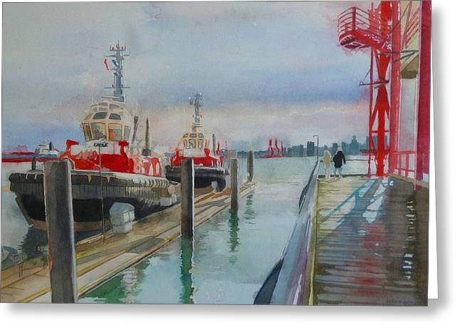 North Vancouver Paintings Greeting Cards - Tugboats Greeting Card by Sandrine Pelissier