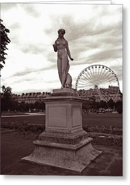 Tuileries Greeting Cards - Tuileries Statue and Ferris Wheel Greeting Card by Kathy Yates