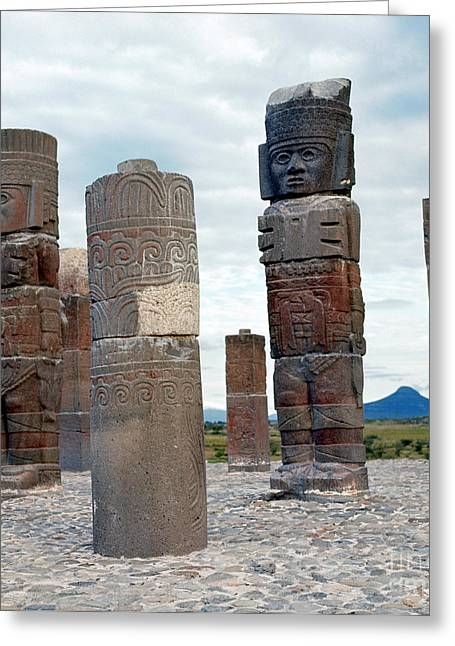 Indian Warrior Sculpture Greeting Cards - Tula: Toltec Monuments Greeting Card by Granger