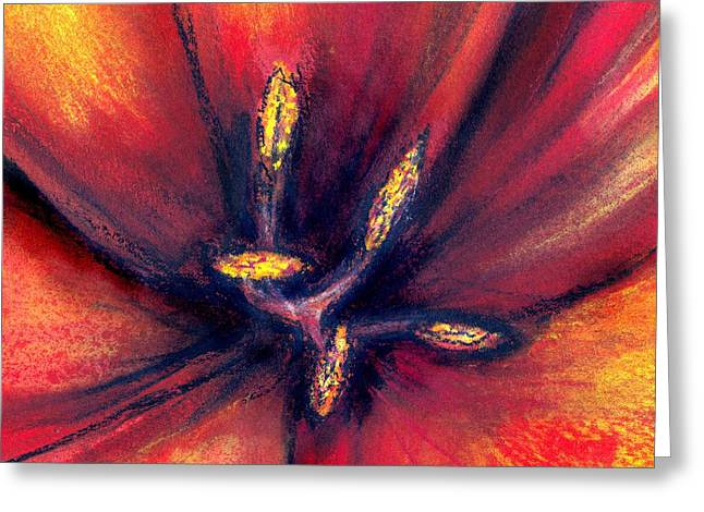 Stamen Pastels Greeting Cards - Tulip centre Greeting Card by Hugh Williamson