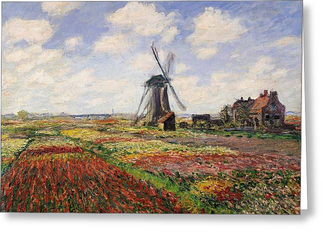Flowers Greeting Cards - Tulip Fields with the Rijnsburg Windmill Greeting Card by Claude Monet