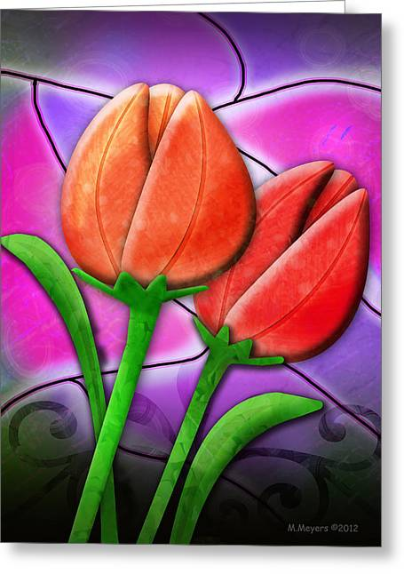 Tulip Glass Greeting Card by Melisa Meyers
