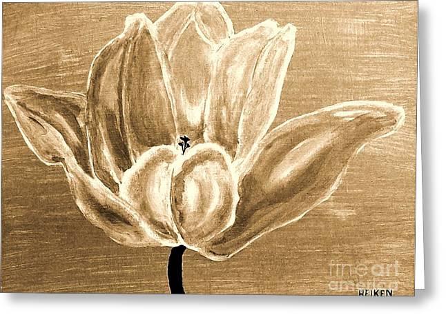 Tulip In Brown Tones Greeting Card by Marsha Heiken