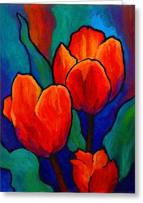 Roses Paintings Greeting Cards - Tulip Trio Greeting Card by Marion Rose