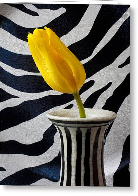 Tulip With Strips Greeting Card by Garry Gay