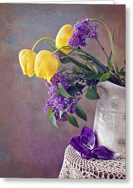 Cheryl Davis Greeting Cards - Tulips and Lilac Still life Greeting Card by Cheryl Davis