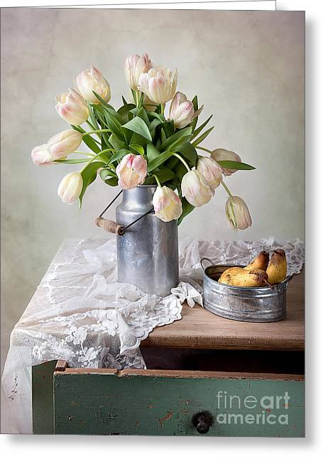 Pastel Pink Greeting Cards - Tulips and Pears Greeting Card by Nailia Schwarz