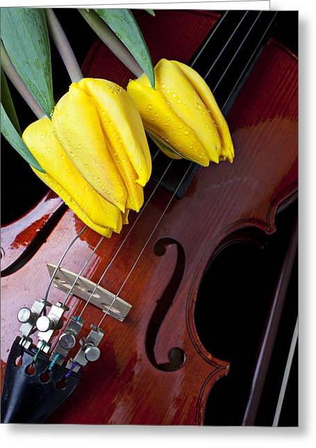 Violin Bows Violin Bows Greeting Cards - Tulips and Violin Greeting Card by Garry Gay