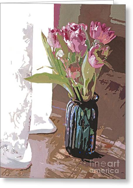 Flower Still Life Greeting Cards - Tulips in a Glass Vase Greeting Card by David Lloyd Glover