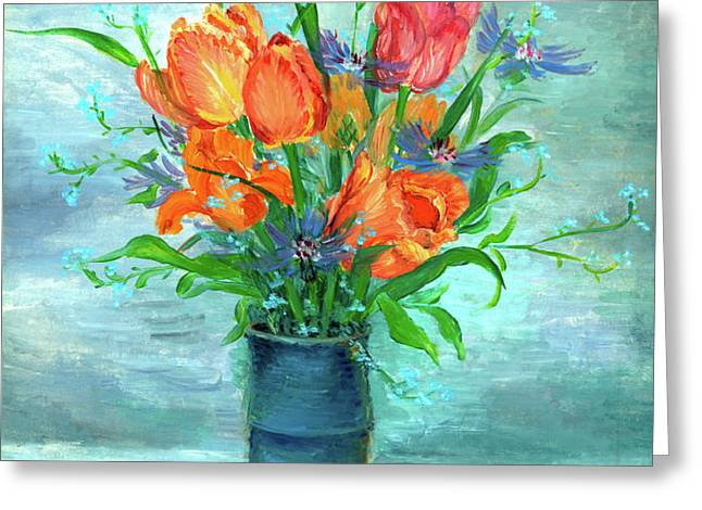 Tulips in BlueVase Greeting Card by Ethel Vrana
