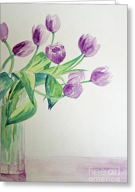 Glass Vase Greeting Cards - Tulips in Purple Greeting Card by Julie Lueders