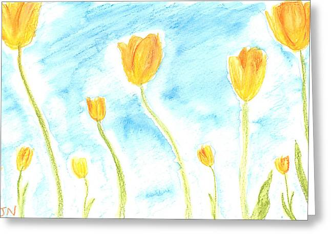 Watercolor Pastels Greeting Cards - Tulips Greeting Card by Jackie Novak