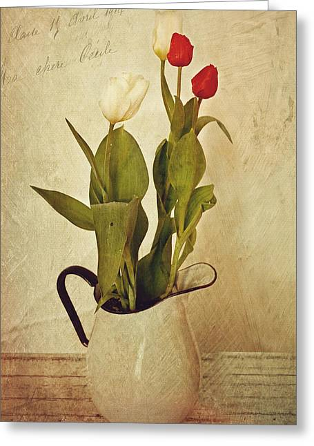 Flower Still Life Prints Greeting Cards - Tulips Greeting Card by Kathy Jennings