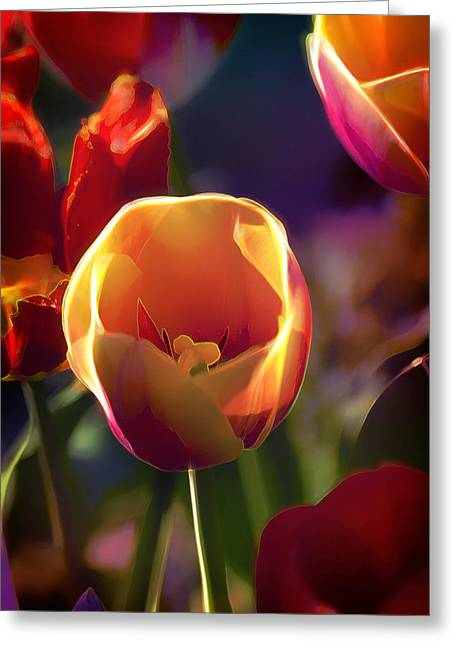 Tulips Through Rose Colored Glass Greeting Card by Bill Tiepelman