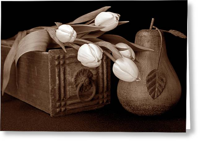 Flower Boxes Greeting Cards - Tulips with Pear I Greeting Card by Tom Mc Nemar