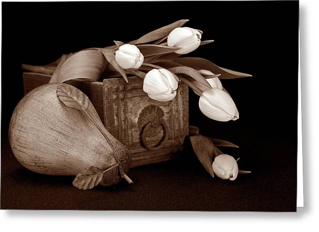 Flower Boxes Greeting Cards - Tulips with Pear II Greeting Card by Tom Mc Nemar