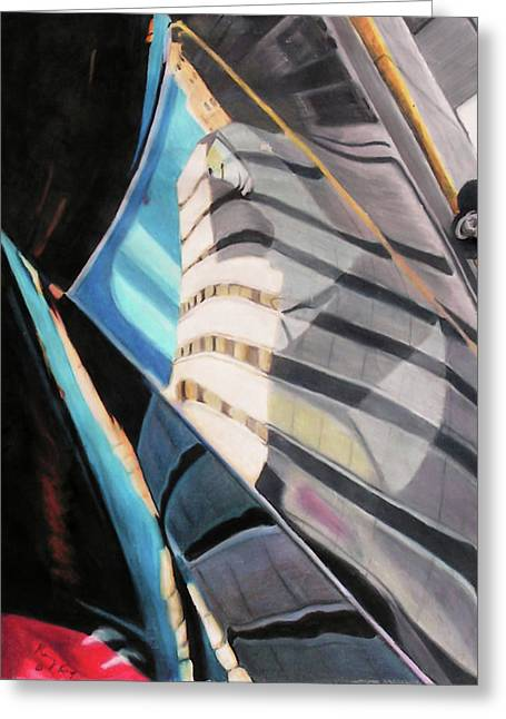 Prisma Colored Pencil Greeting Cards - Tulsa Reflections 3 Greeting Card by Kenny King