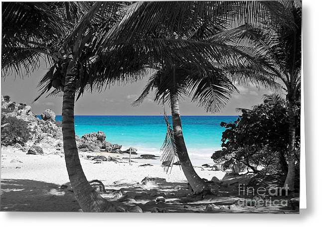 Mexico Greeting Cards - Tulum Mexico Beach Color Splash Black and White Greeting Card by Shawn O