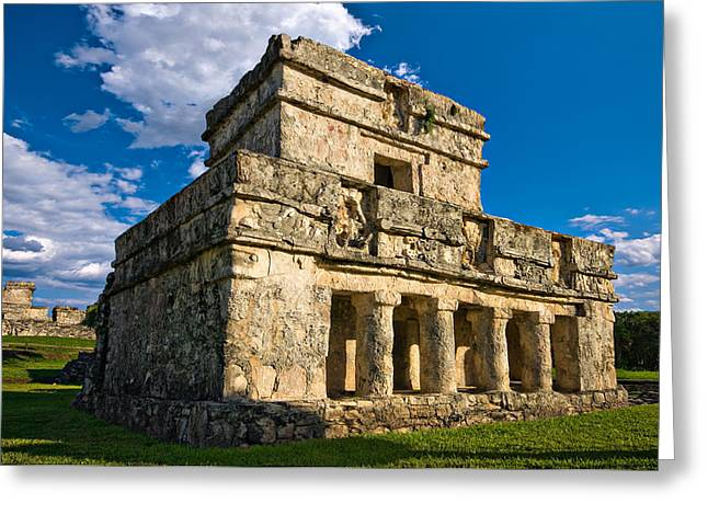 Mayans Greeting Cards - Tulum Temple Greeting Card by Meirion Matthias