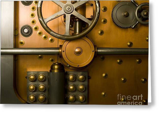 Tumbler Bank Vault Door Greeting Card by Adam Crowley
