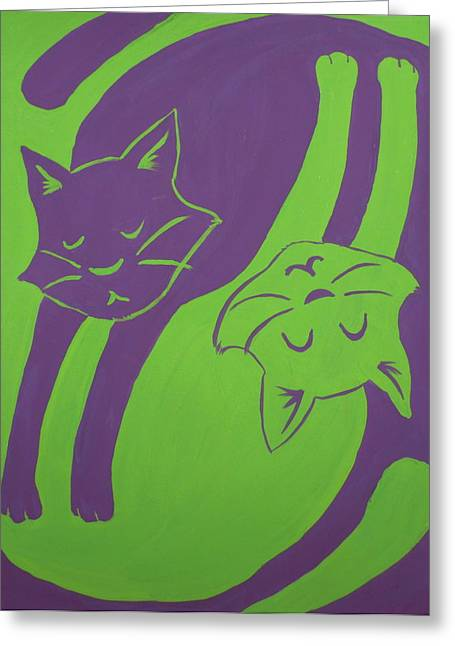 Reversible Greeting Cards - Tumbling Cats Greeting Card by Kimberly Smith