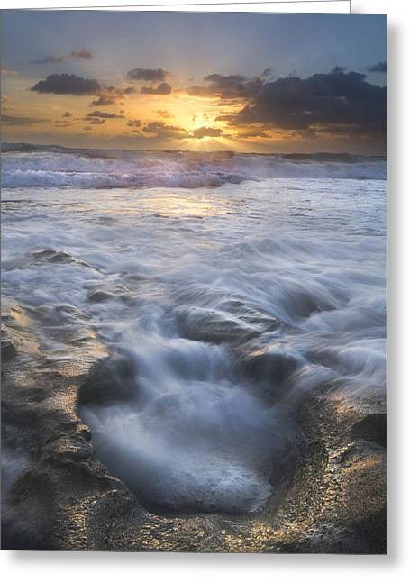 Foggy Beach Greeting Cards - Tumbling Surf Greeting Card by Debra and Dave Vanderlaan
