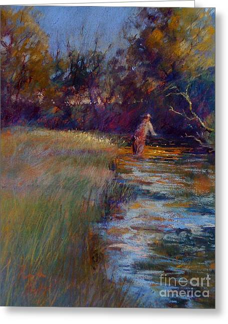 Flyfishing Pastels Greeting Cards - Tumbling Waters Greeting Card by Pamela Pretty