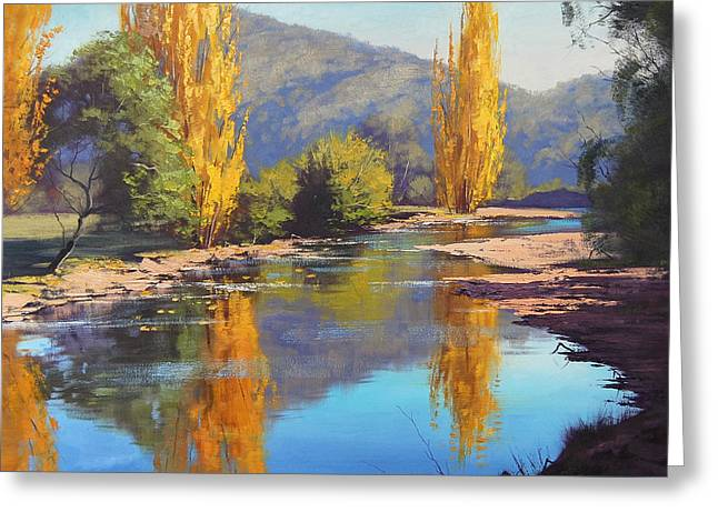 Fall Trees Greeting Cards - Tumut River Gold Greeting Card by Graham Gercken