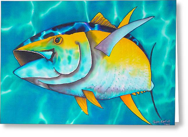 Stretched Canvas Tapestries - Textiles Greeting Cards - Tuna Greeting Card by Daniel Jean-Baptiste