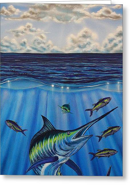 Black Marlin Paintings Greeting Cards - Tuna Roll Greeting Card by Marty  Calabrese