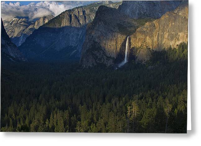 Bridalveil Falls Greeting Cards - Tunnel View at Sunset Greeting Card by Rick Berk