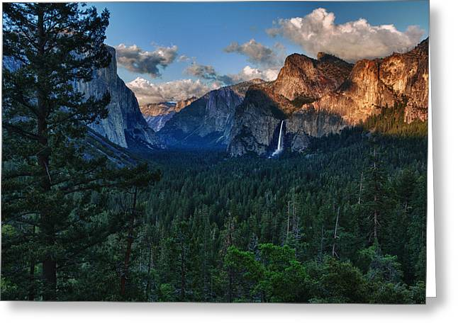 Bridalveil Falls Greeting Cards - Tunnel View Sunset Greeting Card by Rick Berk