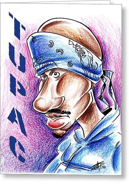 Awesome Pastels Greeting Cards - Tupac Greeting Card by Big Mike Roate