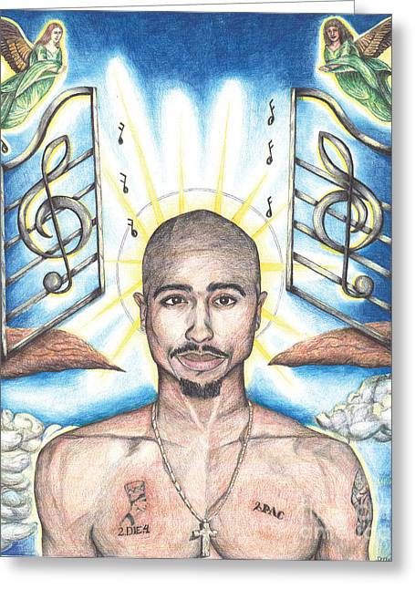 Hop Drawings Greeting Cards - Tupac in Heaven Greeting Card by Debbie DeWitt