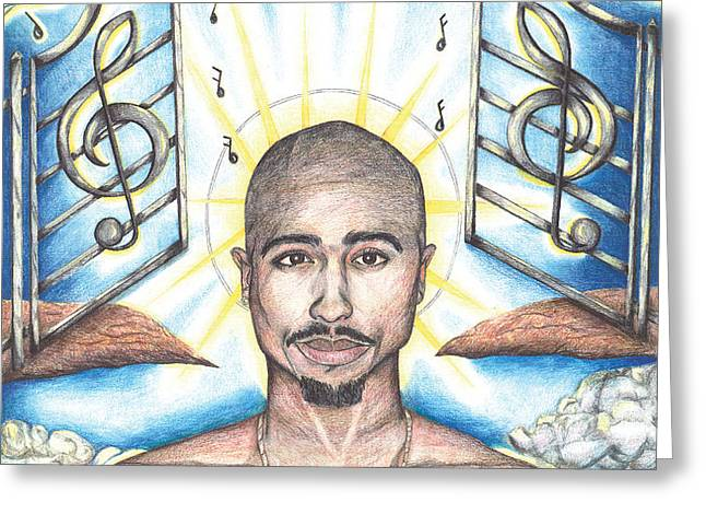 Tupac in Heaven Greeting Card by Debbie DeWitt