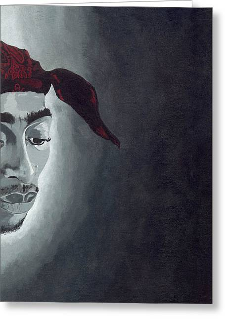 Pac Man Greeting Cards - Tupac Greeting Card by Rishanna Finney
