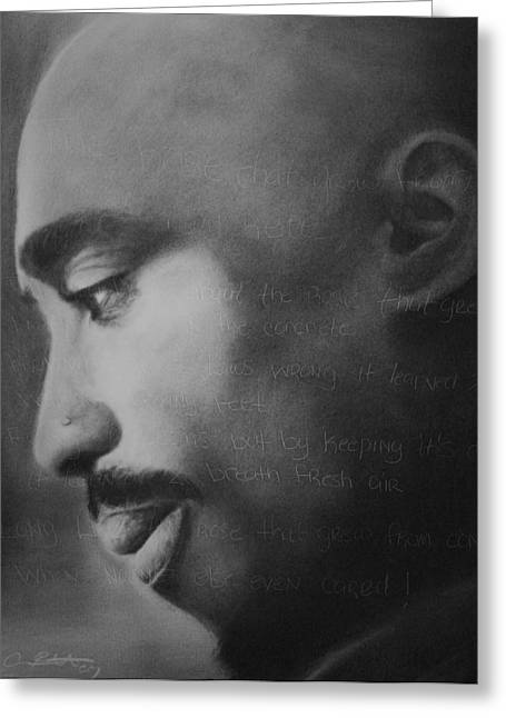 African American Drawings Greeting Cards - Tupac Rose Greeting Card by Adrian Pickett
