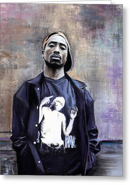 People Greeting Cards - Tupac Shakur Greeting Card by Raymond L Warfield jr