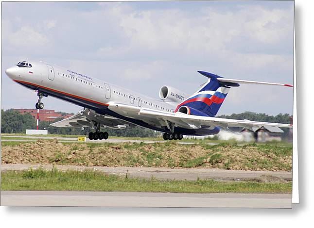 Tupolev Greeting Cards - Tupolev 154 Aircraft, Russia Greeting Card by Ria Novosti