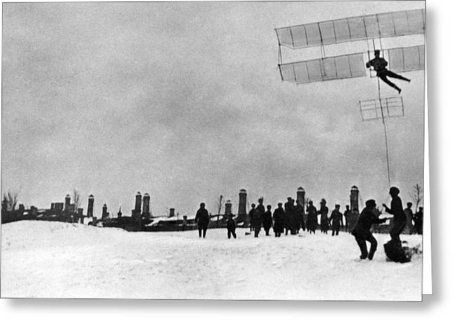 Andrei Tupolev Greeting Cards - Tupolev And His Glider, 1910 Greeting Card by Ria Novosti