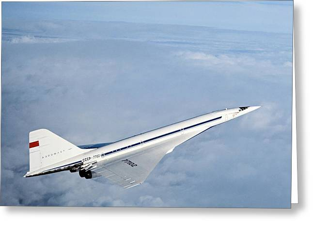 Tupolev Greeting Cards - Tupolev Tu-144, First Supersonic Airliner Greeting Card by Ria Novosti