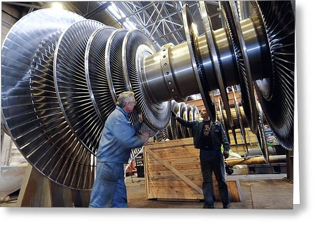 Production Industry Greeting Cards - Turbine Rotor Assembly Area Greeting Card by Ria Novosti