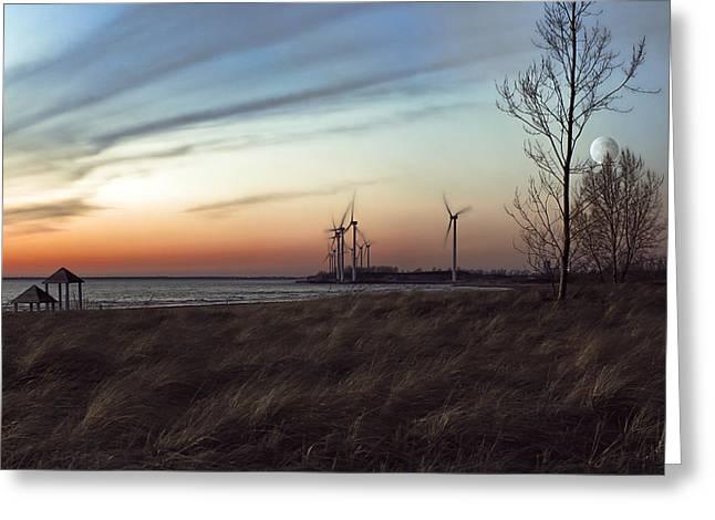 Turbine Sundown Greeting Card by Peter Chilelli