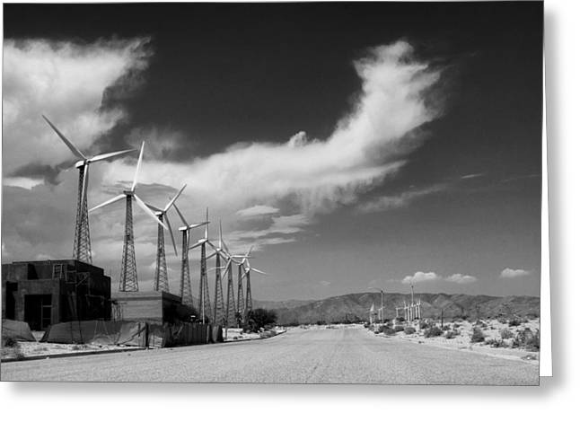Featured Art Greeting Cards - TURBINE TOWN Palm Springs Greeting Card by William Dey