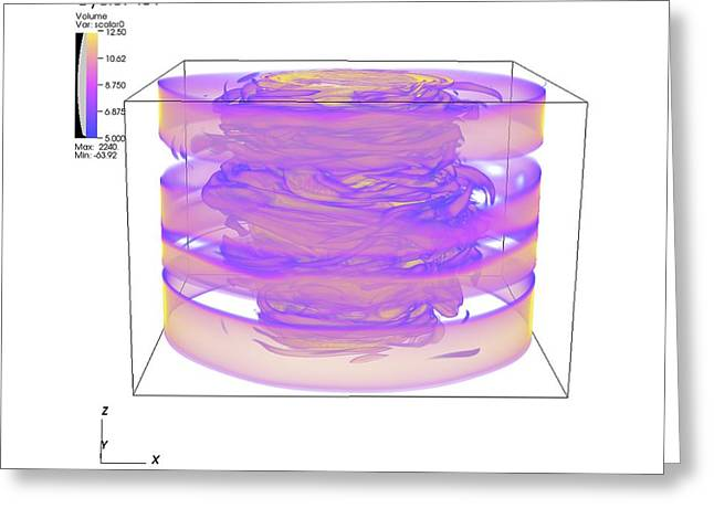Swirls Of Energy Greeting Cards - Turbulent Gas Flow Simulation Greeting Card by Lawrence Berkeley National Laboratory