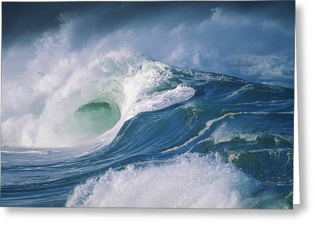 Turbulent Skies Greeting Cards - Turbulent Shorebreak Greeting Card by Vince Cavataio - Printscapes