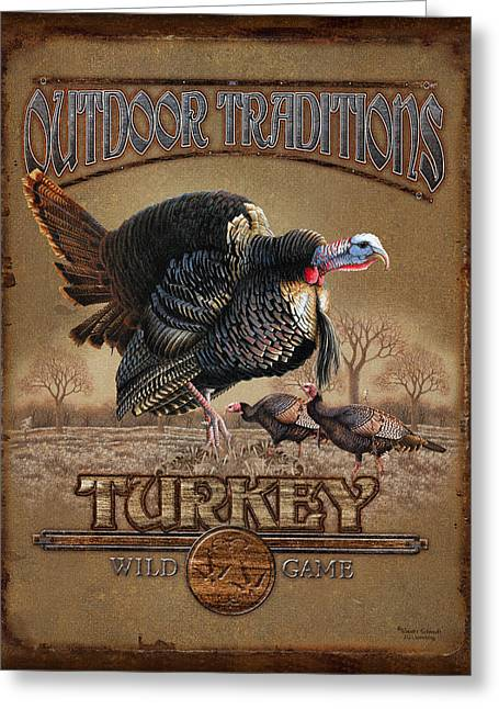 Retro Bird Greeting Cards - Turkey Traditions Greeting Card by JQ Licensing